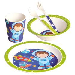 Dětské nádobí z bambusu, set, 5 dílů, Astronaut