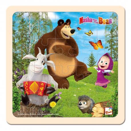 Máša a Medvěd puzzle s kozlíkem 20x20cm